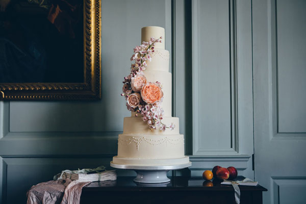 The Cake Professionals' five tier wedding cake at a bridal show