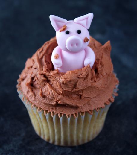 Pig in mud cupcake