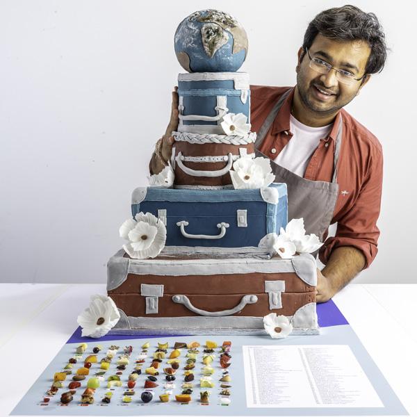 Rahul Mandal with 100 ingredient cake