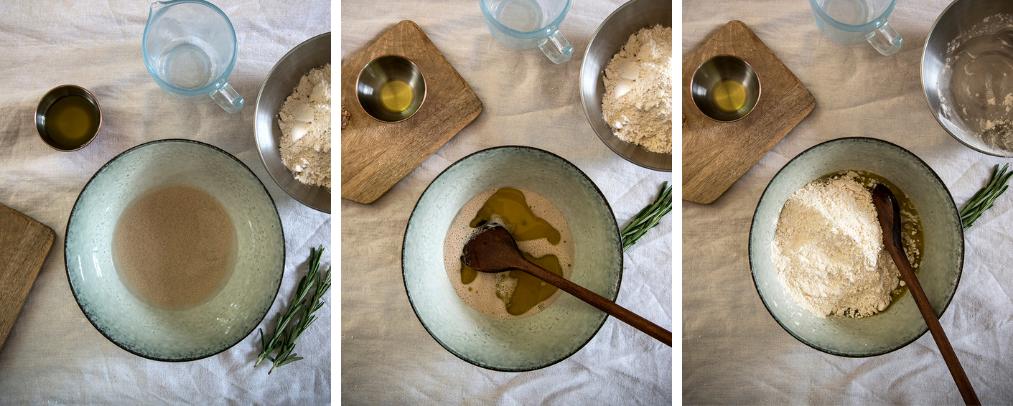 making salt rosemary bread