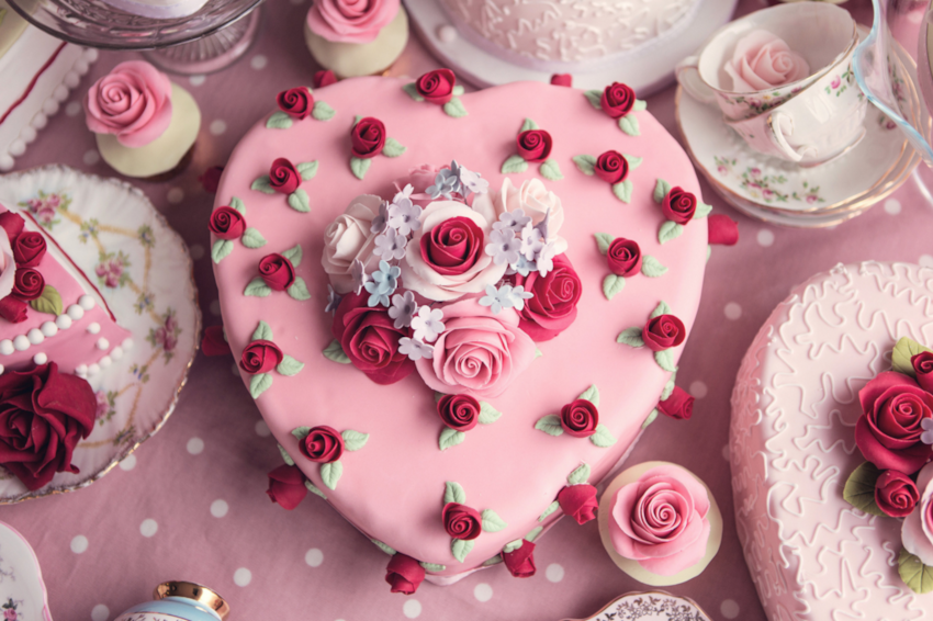 Heart shaped Valentine's cake with rose decorations