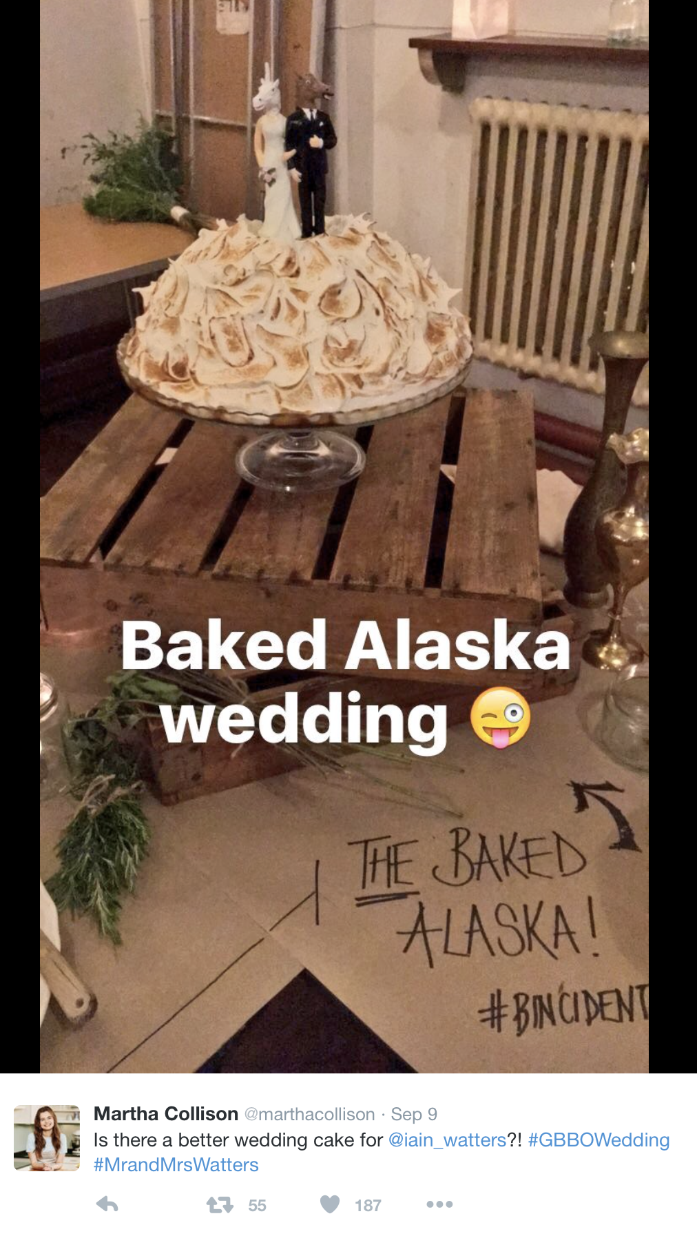 Guess what cake Bin Gate Bake Off Star Iain Watters had at his wedding?