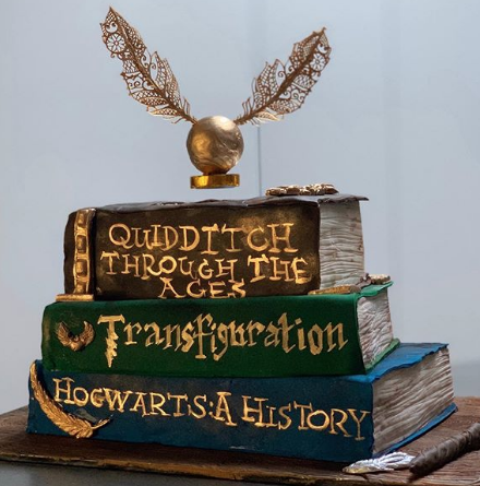 floating golden snitch cake