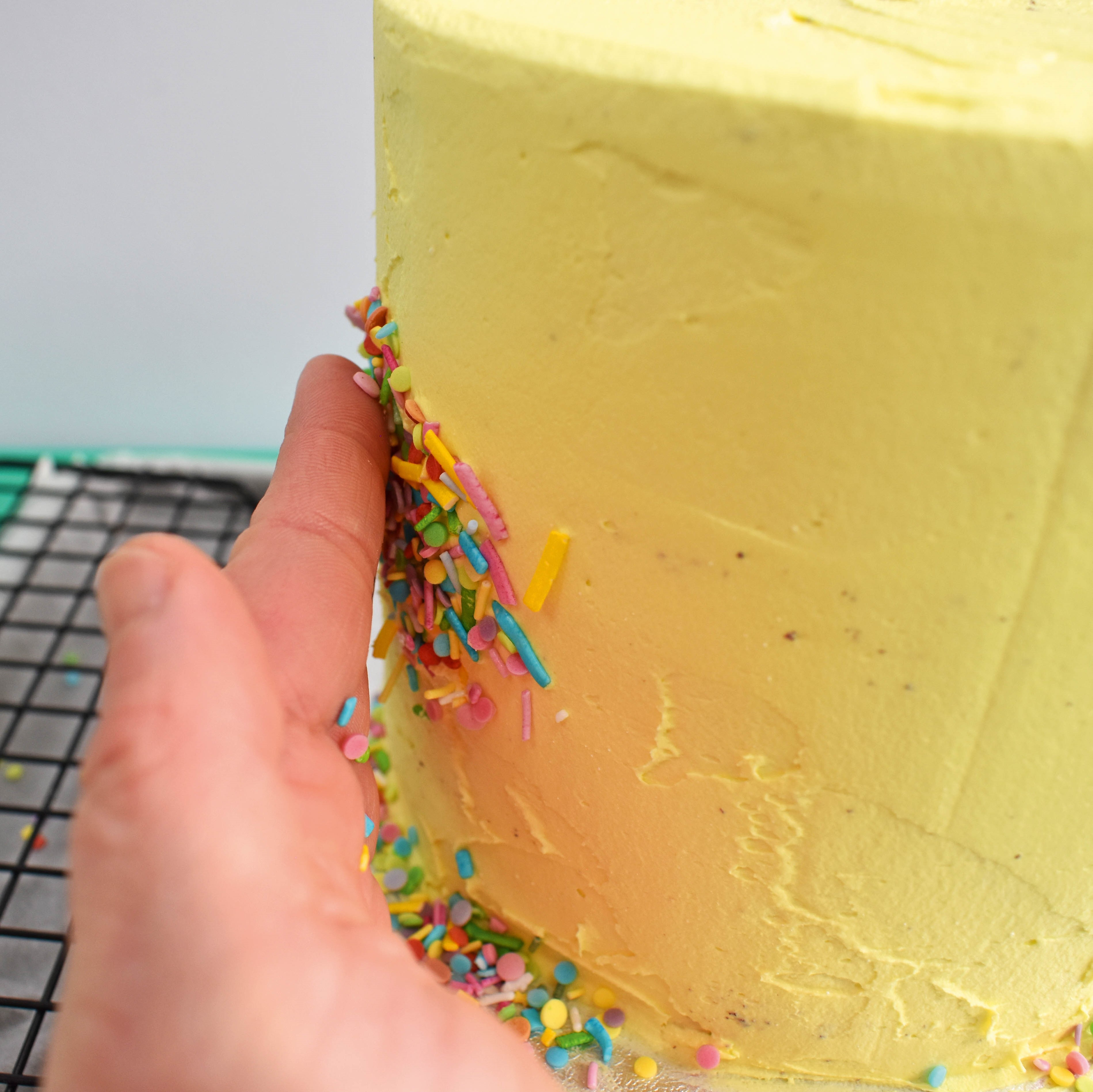 fault line cake with sprinkles step 7