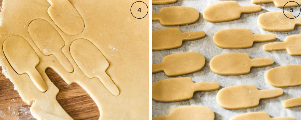 Cutting the ice lolly biscuit shapes