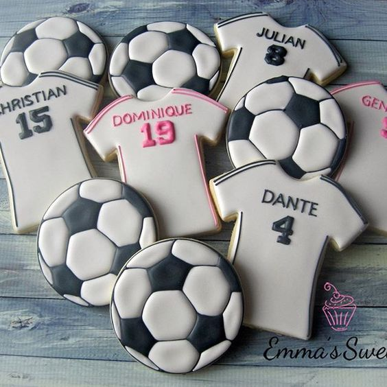 Best football cakes team shirts and football biscuits in pile