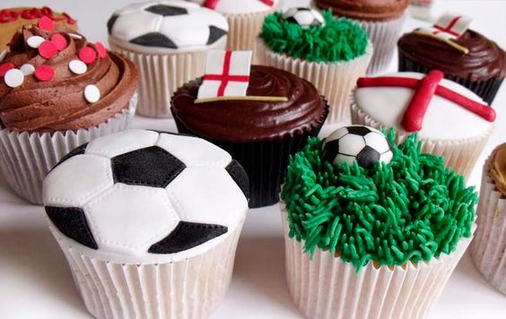 Football cakes World Cup cupcakes selection spread