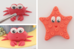 fondant crab and starfish cake toppers