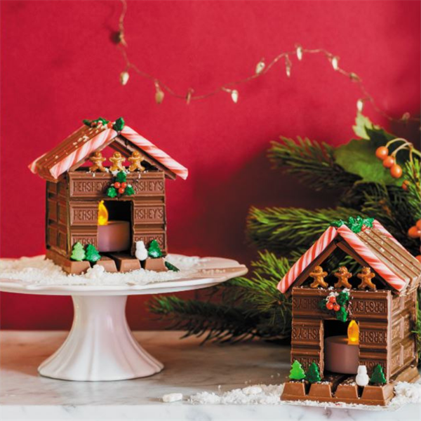 Glowing Chocolate Candy Cottage Christmas