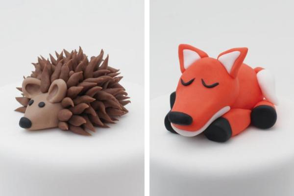 Fondant hedgehog and fox