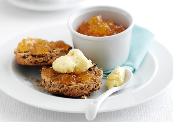 Ginger & prune scone with jam and clotted cream