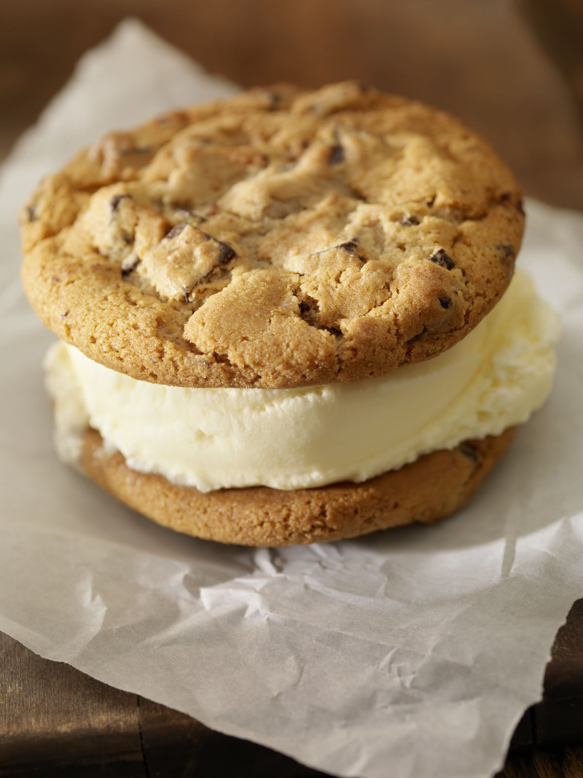Chocolate Chip Cookie Ice Cream Sandwiches With Vanilla Ice Cream -Photographed on Hasselblad H3D-39mb Camera