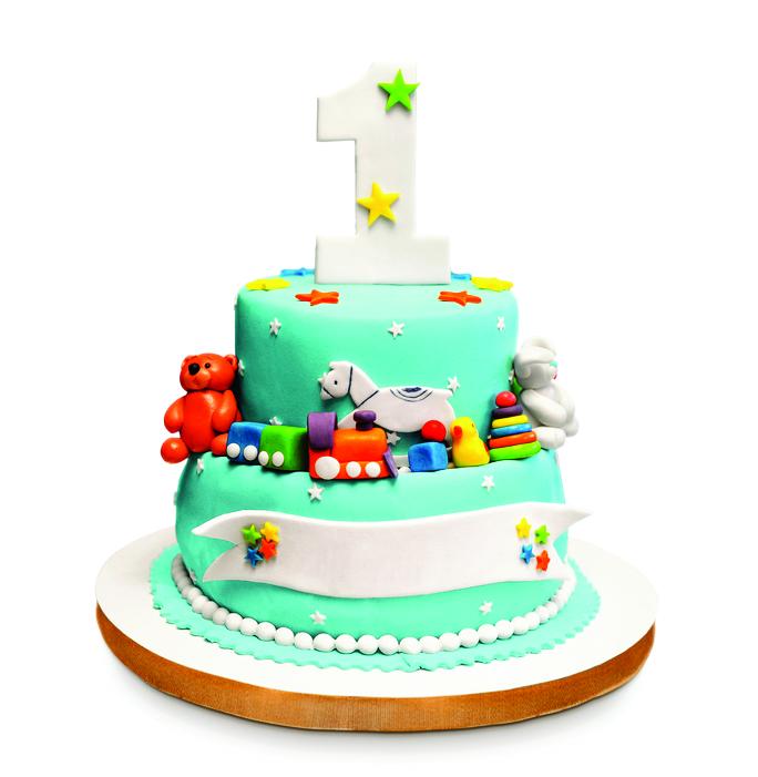 Birthday cake isolated on white background.