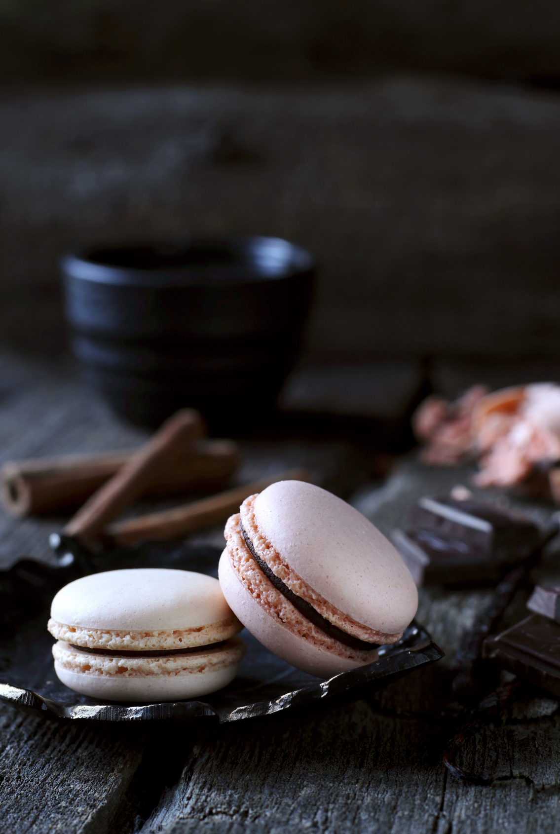 two chocolate macaroon on a dark background, shot with natural light