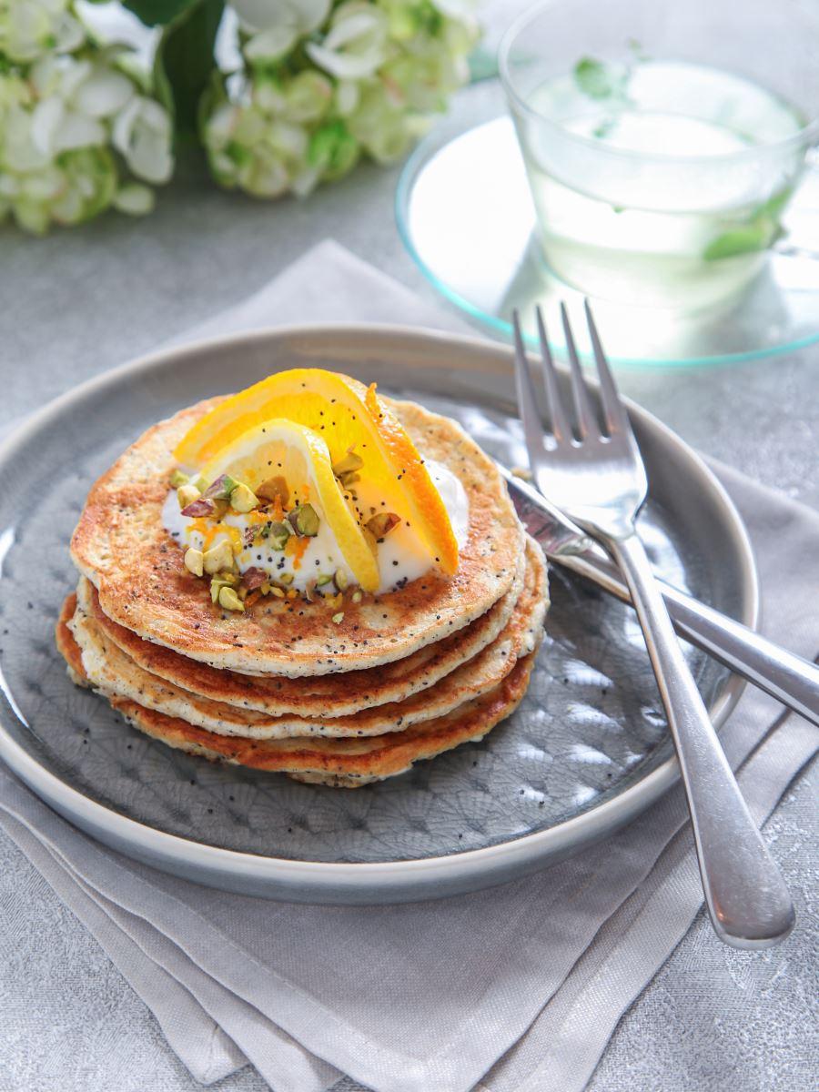 Orange and Lemon Poppyseed Pancakes with Pistachios