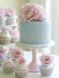 light-blue-lace-wedding-cakes-and-cupcake-with-pink-sugar-roses