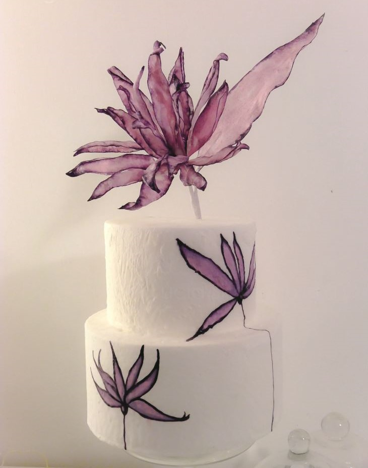 Wafer paper flowers on cake