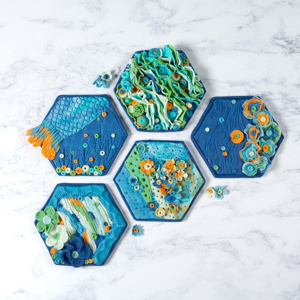 sugarpaste tiles laid out