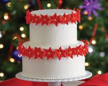 Poinsettias on cake