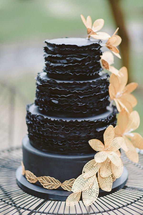 Black cake with ruffles