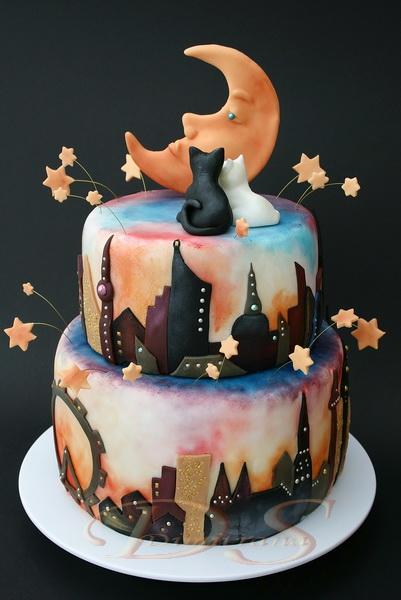 Stunning cityscape cake decoration
