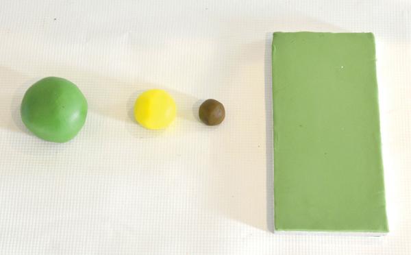 sugarpaste blobs for edible grass