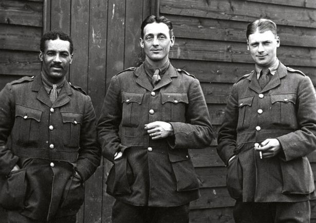 Walter Tull with British Army comrades