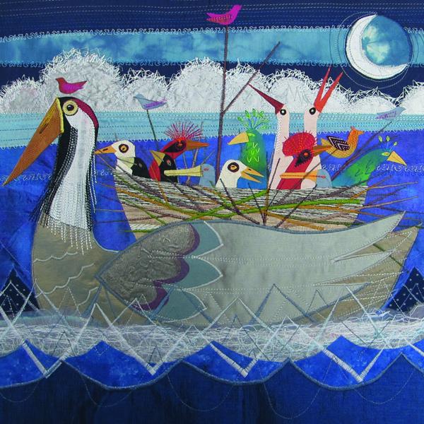 Bird Ark mixed media embroidery by Rachel Sumner