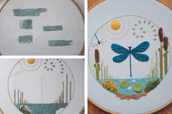 Dragonfly wreath embroidery by Emily Wilmarth
