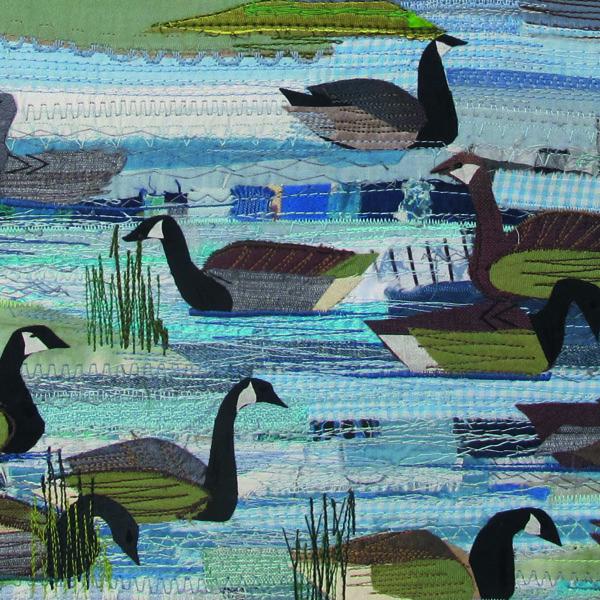 Embroidered water scene by Rachel Sumner