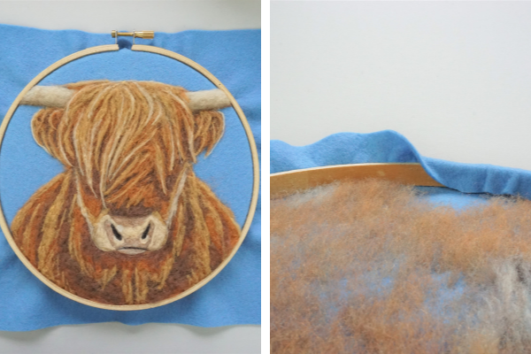 Dani Ives' Highland Cow embroidery hoop
