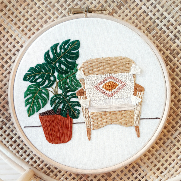 Sew Botanical chair plant embroidery hoop