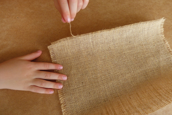 Unravelling hessian fabric
