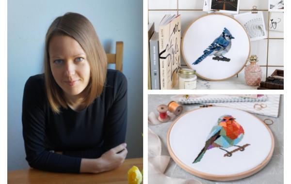 Mila - Velvet Pony and geometric cross stitch birds