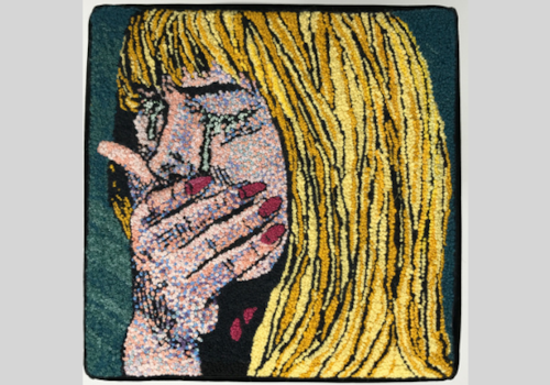 Hand embroidered pop art by Catherine Hicks