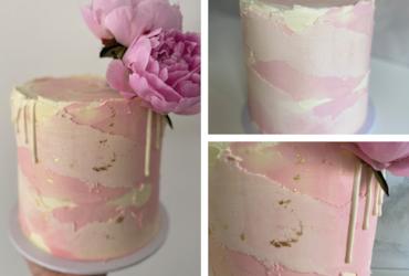 textured watercolour cake tutorial