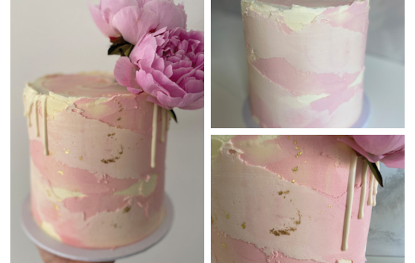 textured watercolour cake tutorial