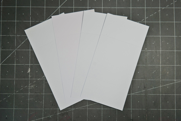 Four pieces of 3x6 cards stock for cascading card