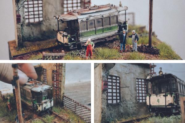 Max Aditya abandoned-style miniatures train scenes