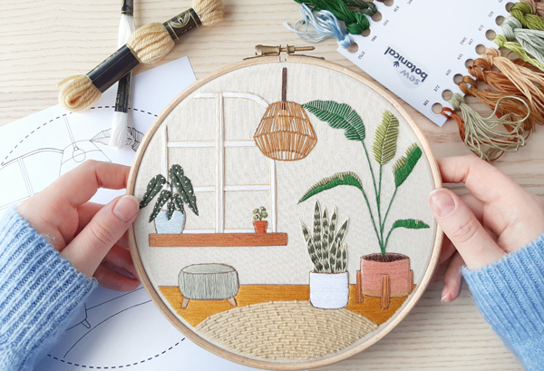 Sew Botanical urban jungle embroidery design