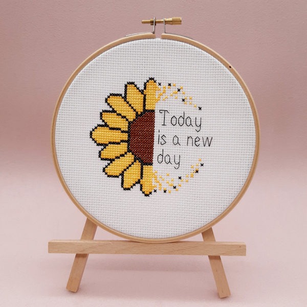 'Today is a new day' sunflower cross stitch design