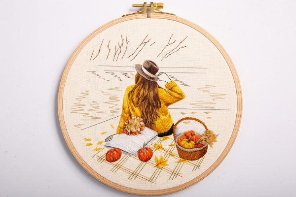An Autumn Picnic by Sila Gur - finished embroidery hoop for display