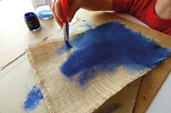 Painting hessian fabric with fabric paint