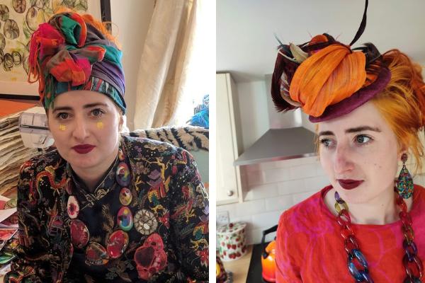 Suzy Wright vibrant clothing and headwear