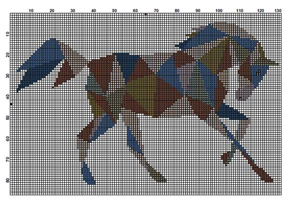 Velvet pony geometric horse cross stitch design