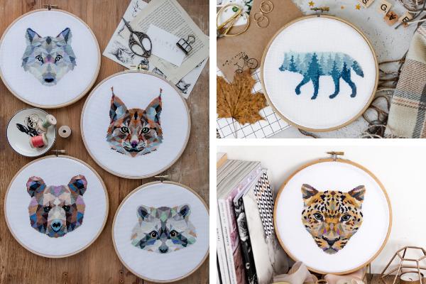 geometric wild animals cross stitch designs by Velvet Pony