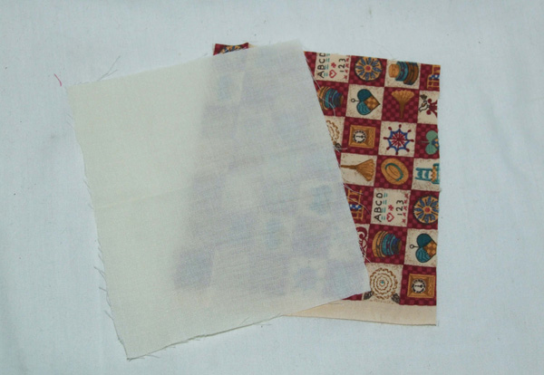 patterned fabric and plain backing fabric