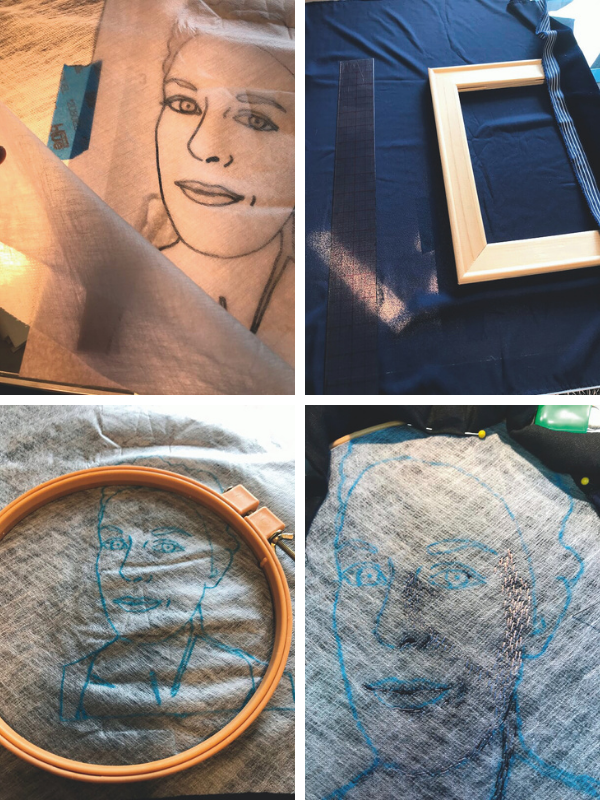 Step by step process of gathering materials for embroidery portrait