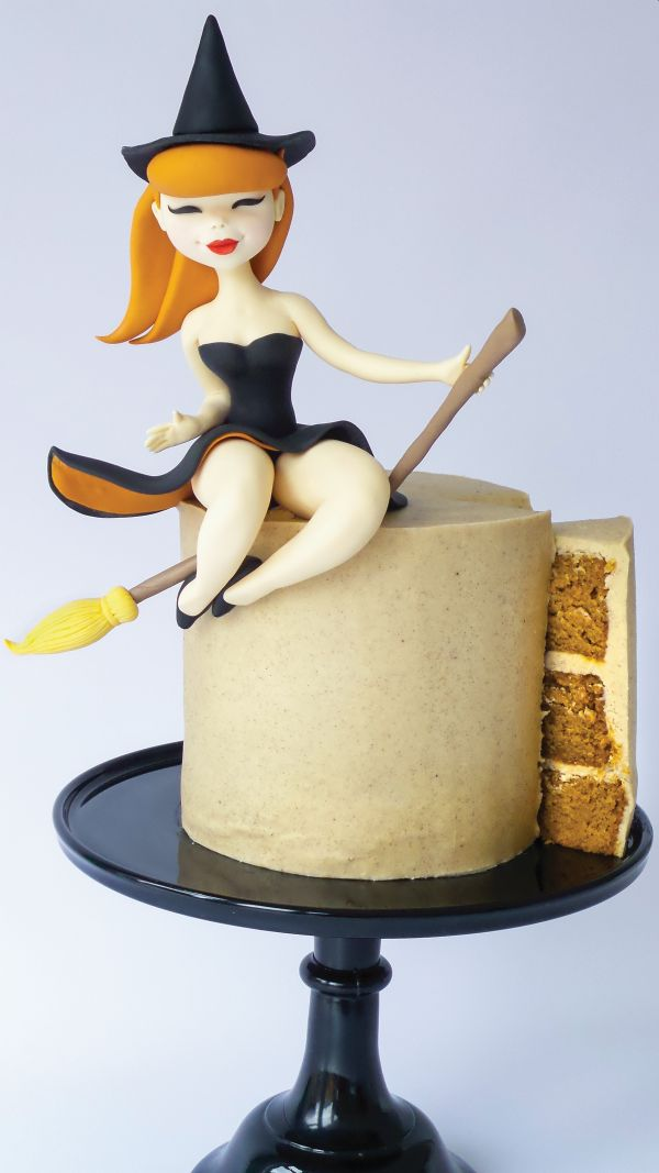 Halloween cake witch on broom