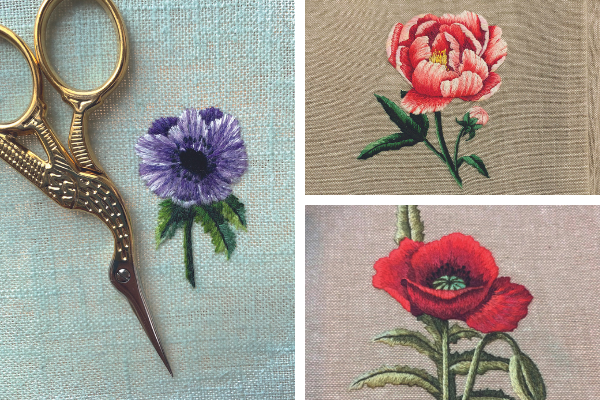 Anemones, peony and poppy thread painting collage by Jessica Devin